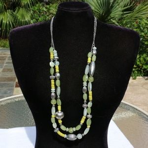 Chicos Long Boho Multi Strand Necklace Yellow Wow!